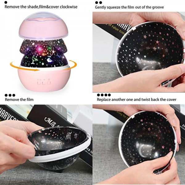 Unicorn Gifts for Girls Star Night Light Projector Toys for Kids Toddlers, GILR Gifts for 1 2 3 4 Years Old, Baby Nursery Night Lamp 8 Colors Rotating Lights, Pink.